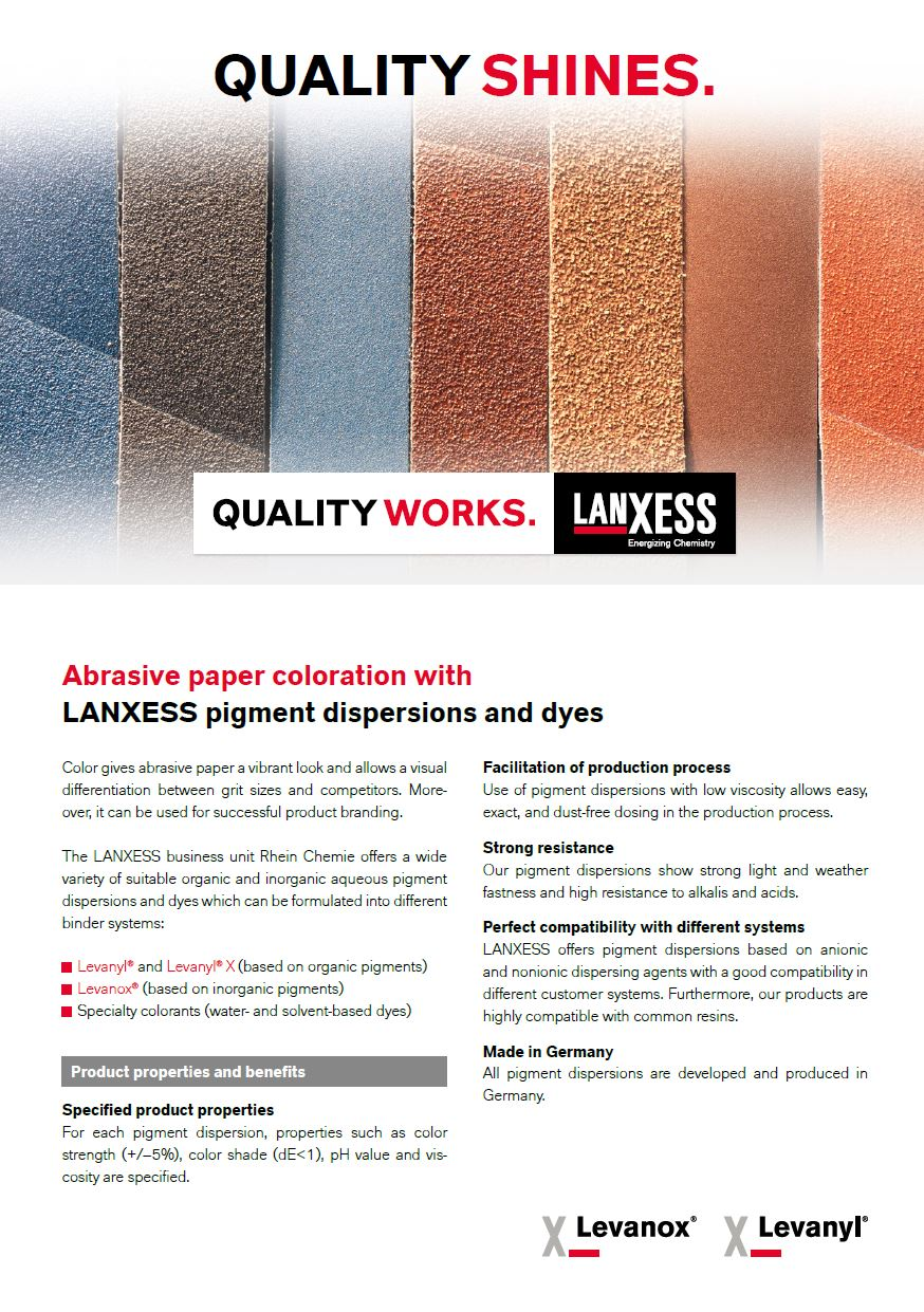 Abrasive paper coloration with LANXESS pigment dispersions and dyes