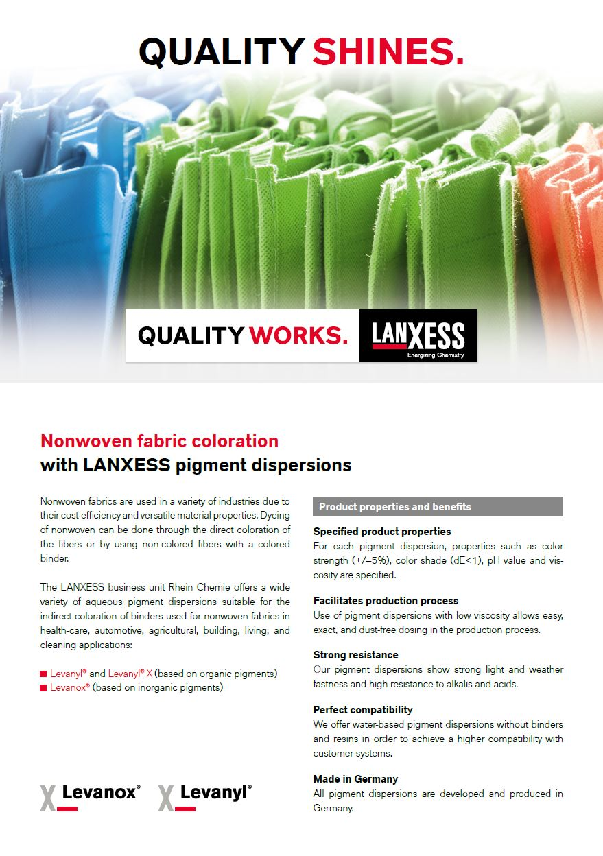 Nonwoven fabric coloration with LANXESS pigment dispersions